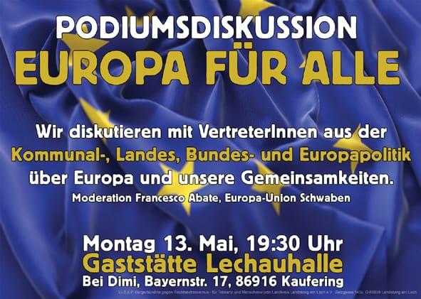13.05.2019 19:30 Uhr Podiumsdiskussion: Europa für alle